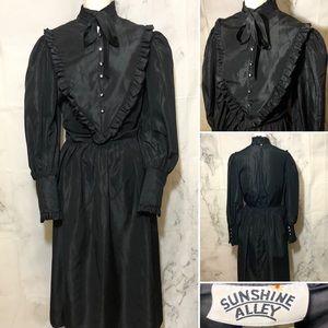 🎃 VTG 80's Gothic Victorian Maxi Dress Costume
